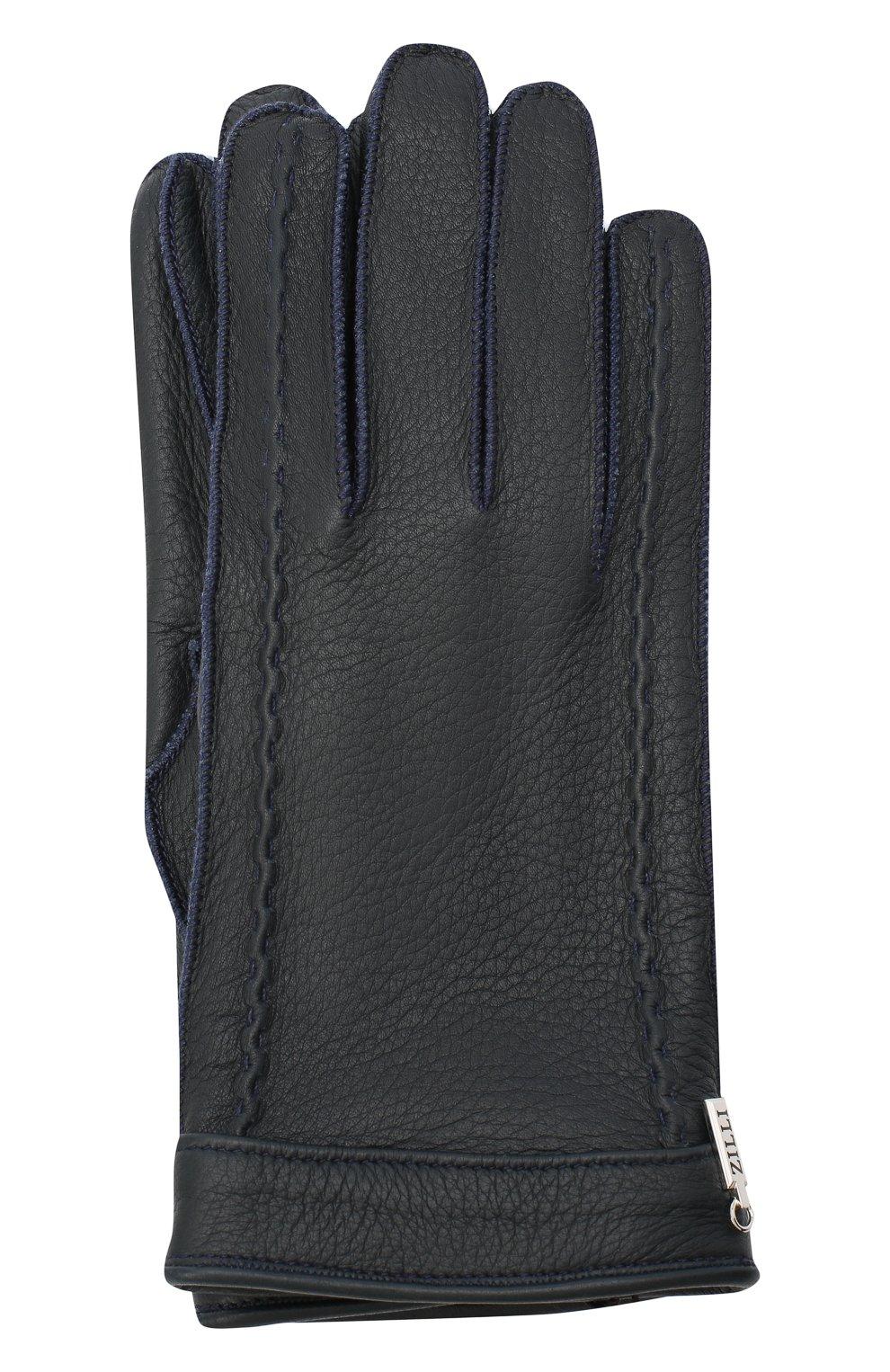 Мужские кожаные перчатки ZILLI темно-синего цвета, арт. MIU-GA149-CERWS/0001   Фото 1