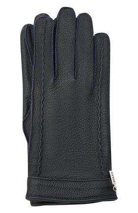 Мужские кожаные перчатки ZILLI темно-синего цвета, арт. MIU-GA149-CERWS/0001 | Фото 1