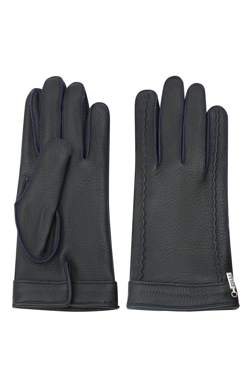 Мужские кожаные перчатки ZILLI темно-синего цвета, арт. MIU-GA149-CERWS/0001   Фото 2