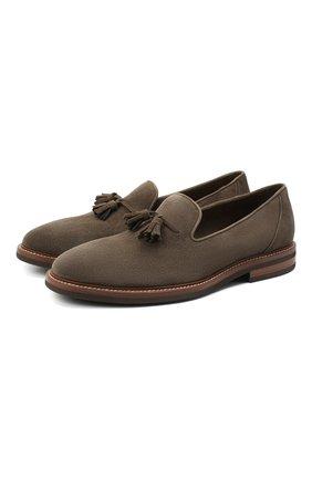 Мужские замшевые лоферы BRUNELLO CUCINELLI серого цвета, арт. MZUKUDK902 | Фото 1 (Материал внутренний: Натуральная кожа; Материал внешний: Замша; Стили: Кэжуэл; Мужское Кросс-КТ: Лоферы-обувь)