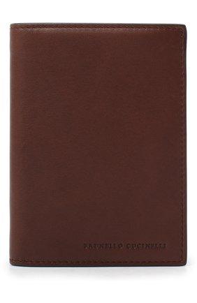 Мужская кожаная обложка для паспорта BRUNELLO CUCINELLI коричневого цвета, арт. MWSBU371 | Фото 1