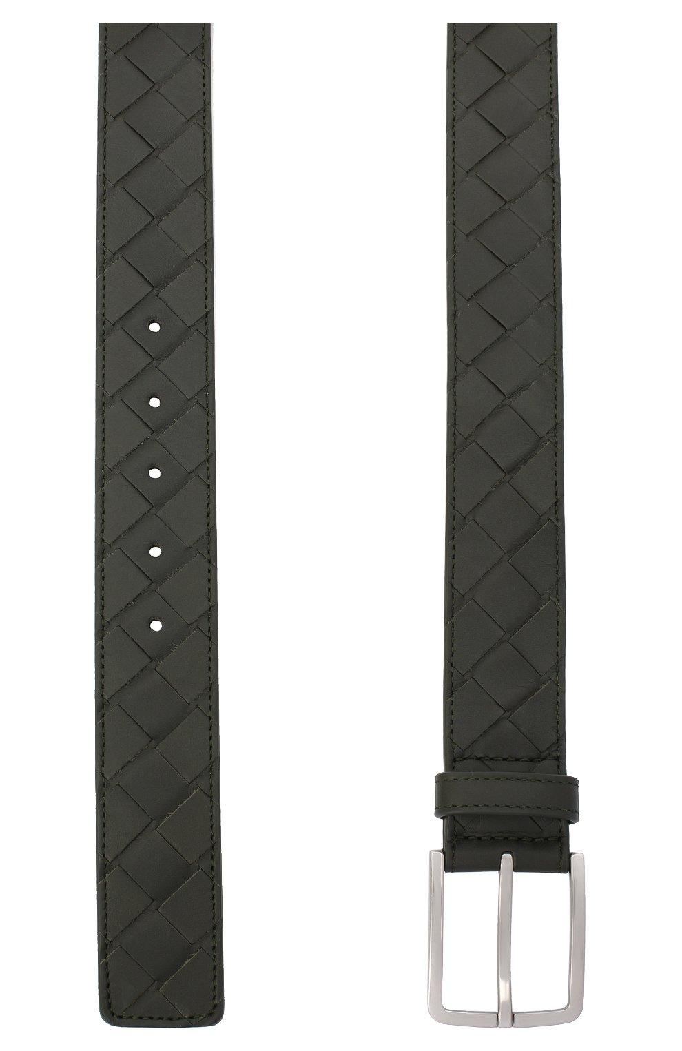 Мужской кожаный ремень BOTTEGA VENETA хаки цвета, арт. 609182/VCPQ3 | Фото 2 (Случай: Повседневный)