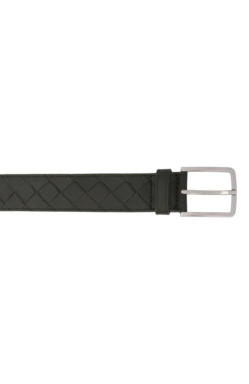 Мужской кожаный ремень BOTTEGA VENETA хаки цвета, арт. 609182/VCPQ3 | Фото 3 (Случай: Повседневный)
