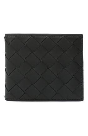 Мужской кожаное портмоне BOTTEGA VENETA черного цвета, арт. 605722/VCPQ6   Фото 1
