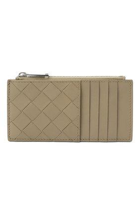 Мужской кожаный футляр для кредитных карт BOTTEGA VENETA бежевого цвета, арт. 591379/VCPQ3 | Фото 1