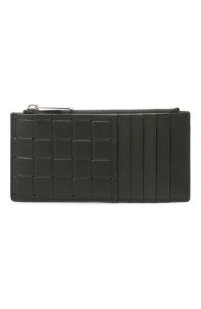 Мужской кожаный футляр для кредитных карт BOTTEGA VENETA хаки цвета, арт. 591379/V0AQ1 | Фото 1