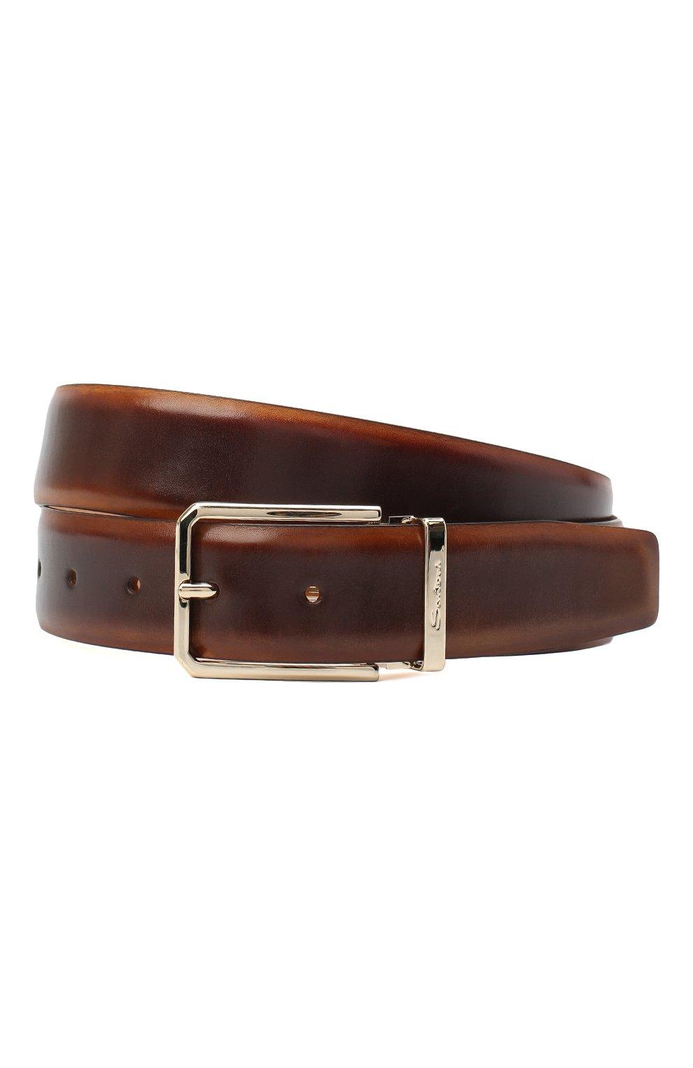 Мужской кожаный ремень SANTONI коричневого цвета, арт. CM35NS003B90HNGWM61   Фото 1