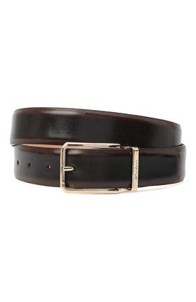 Мужской кожаный ремень SANTONI темно-коричневого цвета, арт. CM35NS003B90HNGWT50 | Фото 1