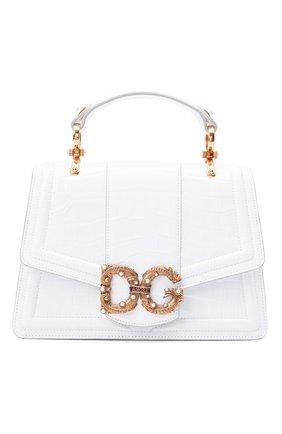 Женская сумка dg amore из кожи крокодила DOLCE & GABBANA белого цвета, арт. BB6675/B2DF8/AMIS   Фото 1 (Ремень/цепочка: На ремешке; Размер: medium; Сумки-технические: Сумки top-handle, Сумки через плечо)