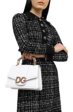 Женская сумка dg amore из кожи крокодила DOLCE & GABBANA белого цвета, арт. BB6675/B2DF8/AMIS   Фото 2 (Ремень/цепочка: На ремешке; Размер: medium; Сумки-технические: Сумки top-handle, Сумки через плечо)