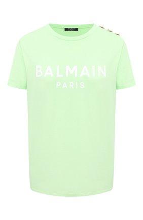 Женская хлопковая футболка BALMAIN светло-зеленого цвета, арт. VF11350/B001 | Фото 1