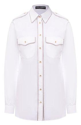 Женская хлопковая рубашка DOLCE & GABBANA белого цвета, арт. F5L74T/FU5K9 | Фото 1