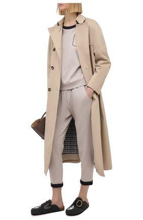 Женские брюки из хлопка и шелка BRUNELLO CUCINELLI светло-бежевого цвета, арт. MD828SA199 | Фото 2