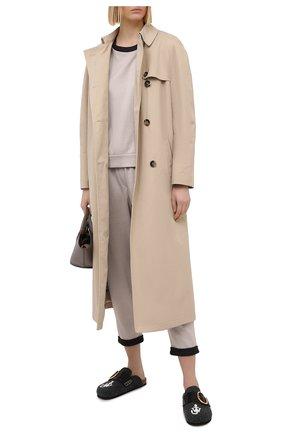 Женская свитшот из хлопка и шелка BRUNELLO CUCINELLI светло-бежевого цвета, арт. MD828SA100 | Фото 2