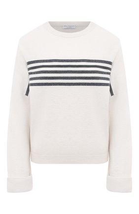 Женский пуловер из шерсти и кашемира BRUNELLO CUCINELLI серого цвета, арт. M16124820 | Фото 1