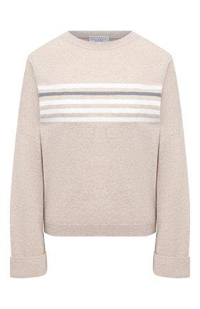 Женский пуловер из шерсти и кашемира BRUNELLO CUCINELLI светло-бежевого цвета, арт. M16124820 | Фото 1