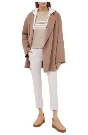 Женский пуловер из шерсти и кашемира BRUNELLO CUCINELLI светло-бежевого цвета, арт. M16124820 | Фото 2