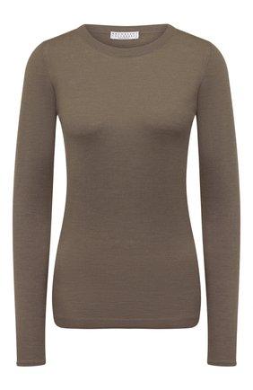 Женский пуловер из кашемира и шелка BRUNELLO CUCINELLI хаки цвета, арт. M13800000 | Фото 1