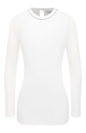Женская хлопковый лонгслив BRUNELLO CUCINELLI белого цвета, арт. M0TC8BJ300 | Фото 1