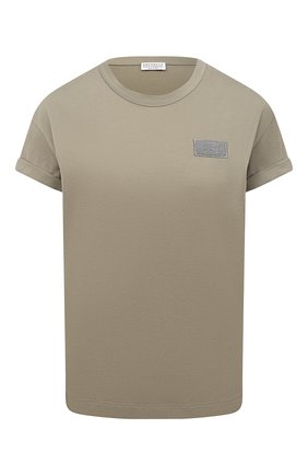 Женская хлопковая футболка BRUNELLO CUCINELLI хаки цвета, арт. M0A45DG830 | Фото 1