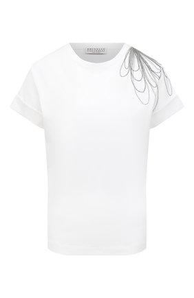 Женская хлопковая футболка BRUNELLO CUCINELLI белого цвета, арт. M0A45BT400 | Фото 1