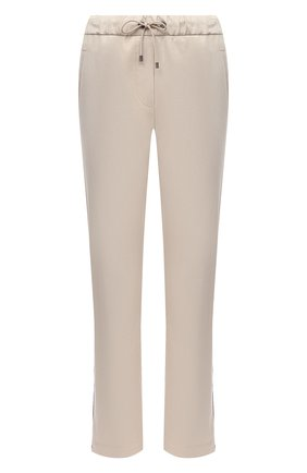 Женские хлопковые брюки BRUNELLO CUCINELLI светло-бежевого цвета, арт. MA130P7083 | Фото 1