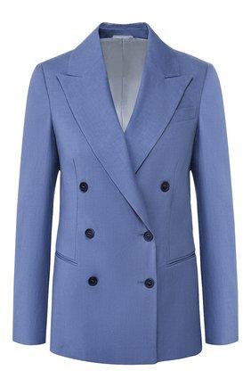 Женский жакет изо льна и хлопка BRUNELLO CUCINELLI голубого цвета, арт. MF5918924 | Фото 1