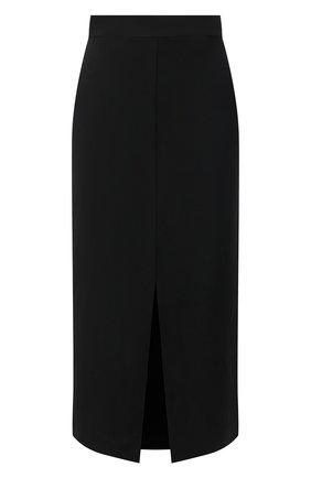 Женская юбка из вискозы и льна BRUNELLO CUCINELLI черного цвета, арт. MH126G3076 | Фото 1