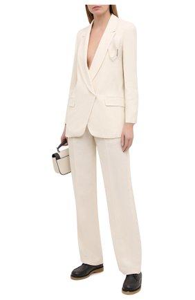 Женские брюки из вискозы и льна BRUNELLO CUCINELLI кремвого цвета, арт. MH126P7575 | Фото 2
