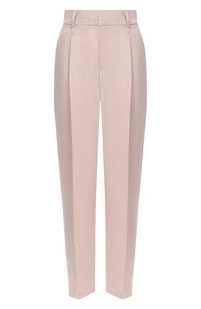 Женские брюки из вискозы и льна BRUNELLO CUCINELLI светло-розового цвета, арт. MH126P7589 | Фото 1