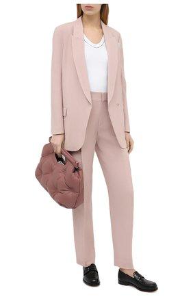 Женские брюки из вискозы и льна BRUNELLO CUCINELLI светло-розового цвета, арт. MH126P7589 | Фото 2