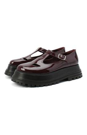 Женская кожаные туфли BURBERRY бордового цвета, арт. 8031246   Фото 1