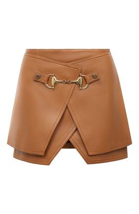 Женская кожаная юбка BALMAIN светло-коричневого цвета, арт. UF04082/L057 | Фото 1