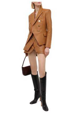 Женская кожаная юбка BALMAIN светло-коричневого цвета, арт. UF04082/L057 | Фото 2