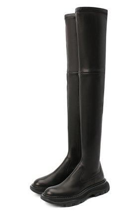 Женские кожаные ботфорты ALEXANDER MCQUEEN черного цвета, арт. 641850/WHSS2   Фото 1