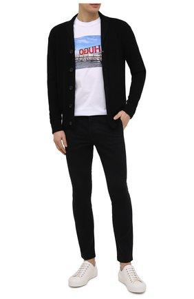 Мужской хлопковые брюки HUGO черного цвета, арт. 50437969 | Фото 2