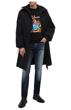 Мужской хлопковый свитшот BALMAIN черного цвета, арт. VH1JQ010/G022   Фото 2 (Принт: С принтом; Длина (для топов): Стандартные; Рукава: Длинные; Мужское Кросс-КТ: свитшот-одежда; Стили: Гранж; Материал внешний: Хлопок)