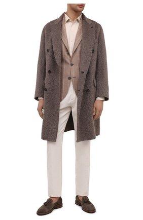 Мужской хлопковые брюки BRUNELLO CUCINELLI белого цвета, арт. M279DE1740 | Фото 2