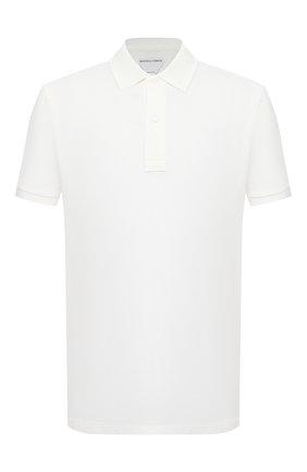 Мужское хлопковое поло BOTTEGA VENETA белого цвета, арт. 649058/V01G0 | Фото 1