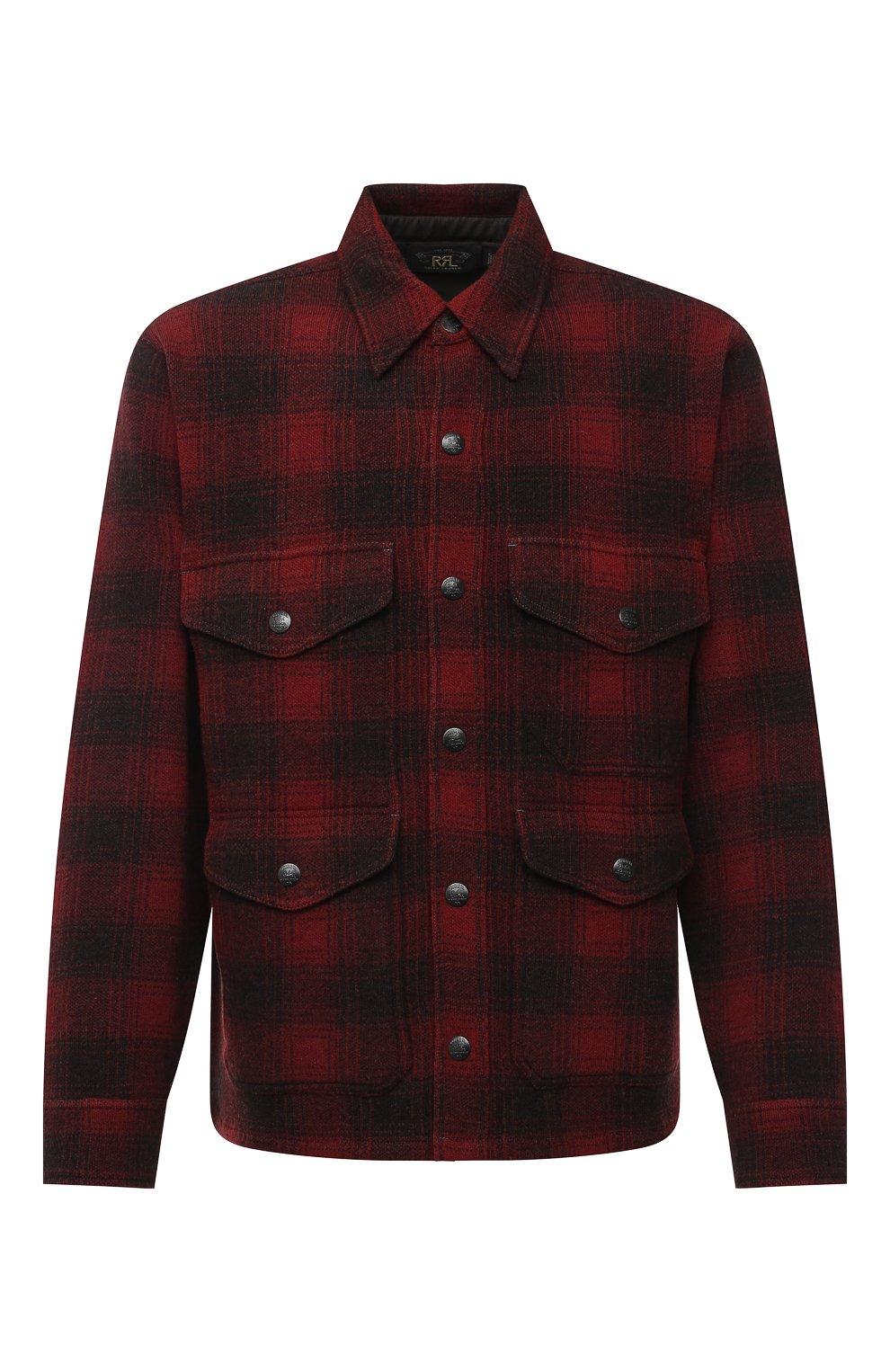Мужская шерстяная куртка RRL красного цвета, арт. 782804605   Фото 1 (Кросс-КТ: Куртка; Мужское Кросс-КТ: шерсть и кашемир; Материал внешний: Шерсть; Рукава: Длинные; Длина (верхняя одежда): Короткие; Стили: Кэжуэл)