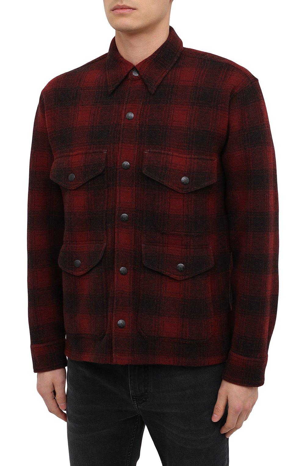 Мужская шерстяная куртка RRL красного цвета, арт. 782804605   Фото 3 (Кросс-КТ: Куртка; Мужское Кросс-КТ: шерсть и кашемир; Материал внешний: Шерсть; Рукава: Длинные; Длина (верхняя одежда): Короткие; Стили: Кэжуэл)