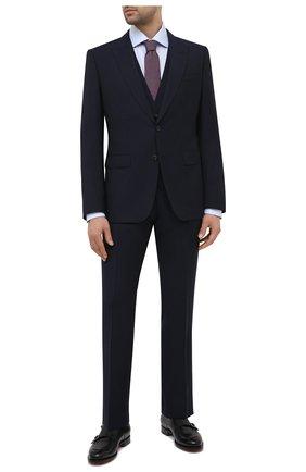 Мужской шерстяной костюм-тройка BOSS темно-синего цвета, арт. 50444065 | Фото 1