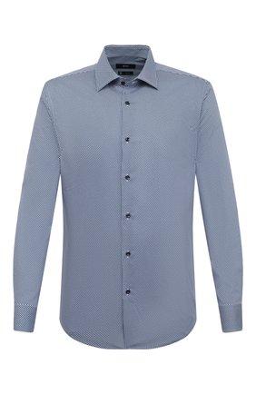 Мужская хлопковая сорочка BOSS темно-синего цвета, арт. 50445380 | Фото 1