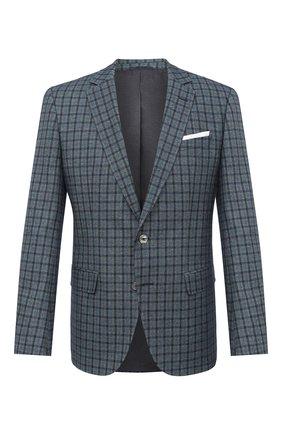 Мужской пиджак из хлопка и шерсти BOSS бирюзового цвета, арт. 50444107   Фото 1