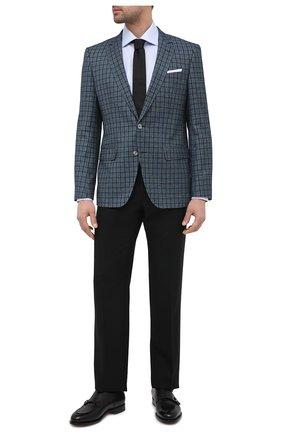 Мужской пиджак из хлопка и шерсти BOSS бирюзового цвета, арт. 50444107   Фото 2