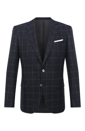 Мужской пиджак из шерсти и вискозы BOSS темно-синего цвета, арт. 50444080   Фото 1