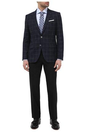 Мужской пиджак из шерсти и вискозы BOSS темно-синего цвета, арт. 50444080   Фото 2