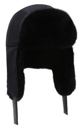 Мужская шапка-ушанка с отделкой из меха норки ZILLI темно-синего цвета, арт. MHQ-0RS00-30337/1001 | Фото 1