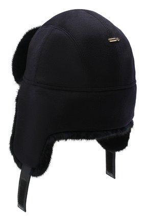 Мужская шапка-ушанка с отделкой из меха норки ZILLI темно-синего цвета, арт. MHQ-0RS00-30337/1001 | Фото 2