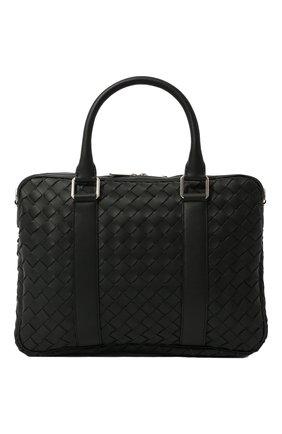 Мужская кожаная сумка для ноутбука BOTTEGA VENETA черного цвета, арт. 651580/V0E51 | Фото 1